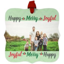 Thumbnail for Fancy Bracket Metal Ornament with Holiday Words design 1