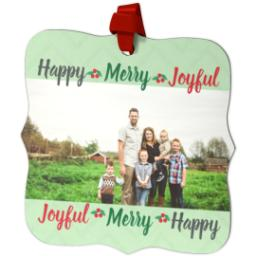 Thumbnail for Fancy Bracket Metal Ornament with Holiday Words design 2