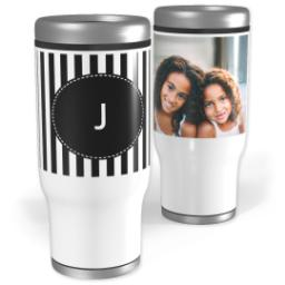 Thumbnail for Stainless Steel Tumbler, 13oz with Custom Color Monogram Mini Stripes design 1