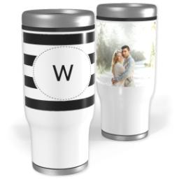 Thumbnail for Stainless Steel Tumbler, 13oz with Custom Color Monogram Stripes design 1