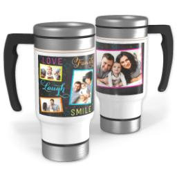 Thumbnail for Stainless Steel Photo Travel Mug, 14oz with Colorful Family Chalkboard design 1