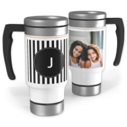 Thumbnail for Stainless Steel Photo Travel Mug, 14oz with Custom Color Monogram Mini Stripes design 1