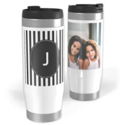 Thumbnail for Premium Tumbler Photo Travel Mug, 14oz with Custom Color Monogram Mini Stripes design 1