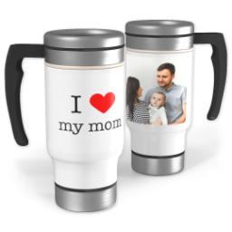Thumbnail for Stainless Steel Photo Travel Mug, 14oz with I Heart My Mom design 1