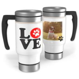 Thumbnail for Stainless Steel Photo Travel Mug, 14oz with Love Paws design 1