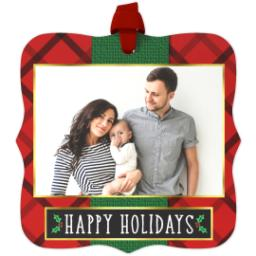Thumbnail for Fancy Bracket Metal Ornament with Elegant Plaid Holiday design 1