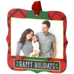 Thumbnail for Fancy Bracket Metal Ornament with Elegant Plaid Holiday design 2