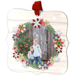 Thumbnail for Fancy Bracket Metal Ornament with Winter Wreath design 2
