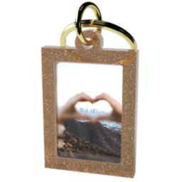 Thumbnail for Acrylic Photo Keychain - Vertical Rectangle, Gold Sparkle with Full Photo design 2
