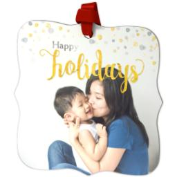 Thumbnail for Fancy Bracket Metal Ornament with Holiday Confetti design 2
